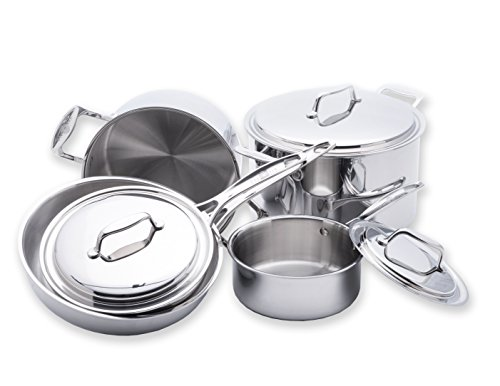 USA Pan 5-Ply Stainless Steel 8 Piece Cookware Set, Oven and Dishwasher Safe, Made in the USA, Silver