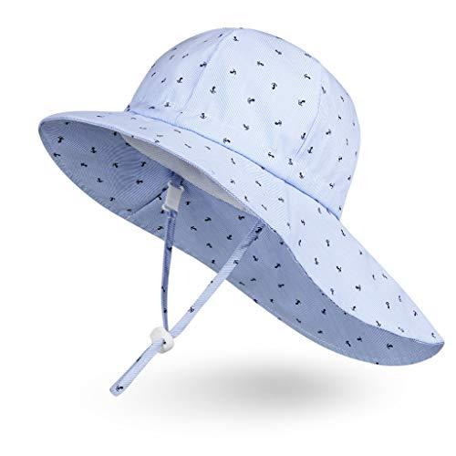 Ami&Li Bebé Sombrero Cuello Protección Niños Algodón UPF 50 Sombrero de Sol Niña Niño Infantil Pequeños-L:Ancla del Barco