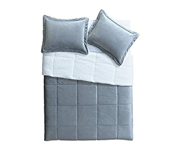 VCNY Home Micro Mink Reversible 3-Piece Warm Sherpa Comforter Set Queen Grey