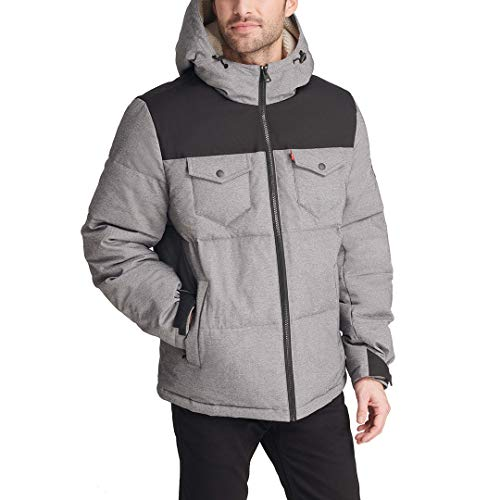 Levi's Men's Heavyweight Mid-Length Hooded Military Puffer Jacket, Black/Heather Grey, Large