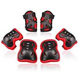 BOSONER Kids/Youth Knee Pad Elbow Pads Guards Protective Gear Set for Roller Skates Cycling BMX Bike Skateboard Inline Skatings Scooter Riding Sports (Black/Red, Small (3-8 Years))