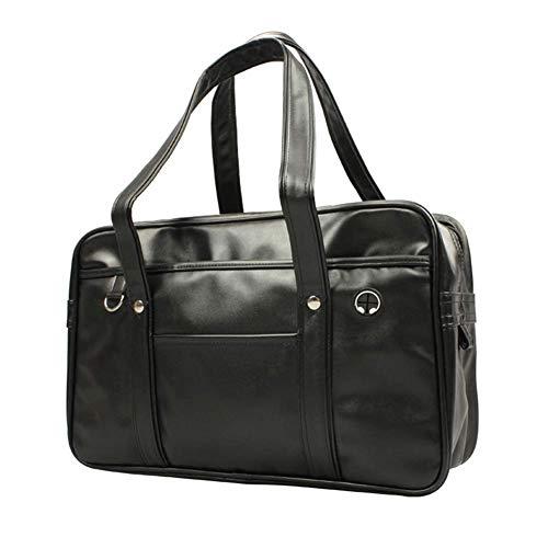 スクールバッグ 大容量 合皮 軽量 ボストンバッグ 多機能学生鞄 通学通勤 男女兼用 (ブラック)