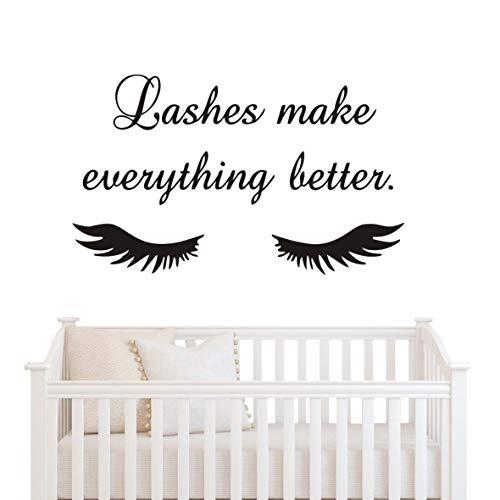 Lashes Make Everything Better Beauty Salon - Adhesivo decorativo para pared, pestañas largas, vinilo, cejas, cejas, arte mural de pared, arte mural AY1078, vinilo, negro, 94X57CM