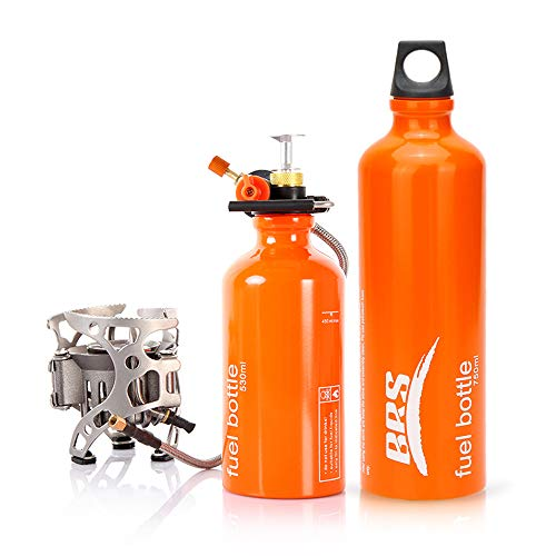 Explopur Fornello a Gas da Campeggio | 530ml (18 Once) / 750ml(25,4 Once) di bombola di stoccaggio del combustibile - per Gas Liquido al Kerosene al Cherosene Diesel di Benzina | Parabrezza Opzionale