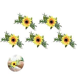 Silk Flower Arrangements Cratone 5Pcs Wrist Flower Wristband Bridesmaid Corsage Hand Flowers Sunflower Silk Bracelet Artificial Flower Elegant Wedding Bridesmaid Hand Wrist Corsage 11CM