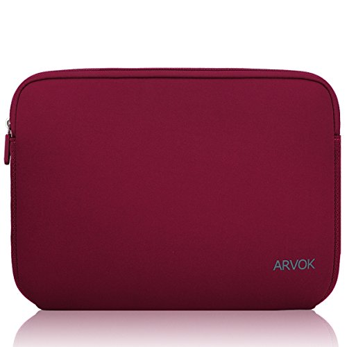 Arvok 15-15.6 Inch Laptop Sleeve Multi-Color & Size Choices Case/Water-resistant Neoprene Notebook Computer Pocket Tablet Briefcase Carrying Bag/Pouch Skin Cover For Acer/Asus/Dell/Lenovo/HP, Wine Red