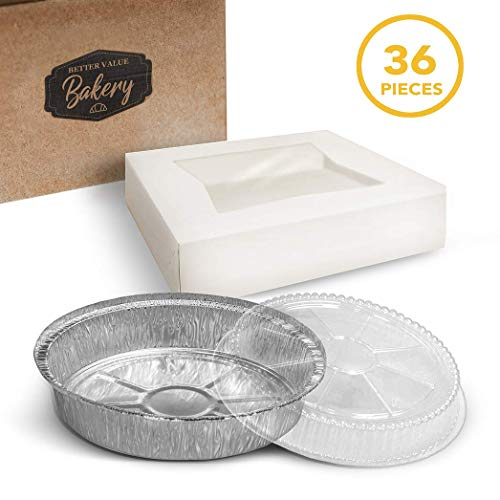 Pie Boxes with Aluminum Foil Pans and Lid 9' x 9' x 2.5' Bakery Box with Window Lid and Disposable Pie Tins with Lids Bake and Package 12 Pies for Home Holiday or Restaurant Use (36 Piece Set)