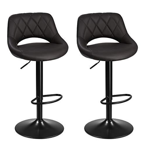 SONGMICS Barhocker, 2er Set Barstühle, Küchenstühle mit stabilem Metallgestell, Stühle mit Kunstlederbezug, Fußstütze, Sitzhöhe verstellbar, einfache Montage, Vintage, anthrazit LJB072B01