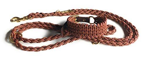 Viva Nature Handgemachtes Hunde-Halsband MIT Leine im Set/verstellbar Paracord-PP-Flechtleine/Geflochten/Hund (Grau rosa II)