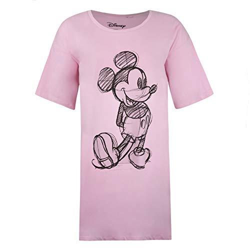 Disney Mickey Mouse Sketch Sleep T-Shirt Chemise de Nuit, Rose (Light Pink Ltp), XL Femme