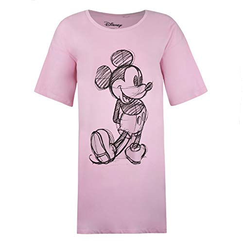 Disney Mickey Mouse Sketch Sleep T-Shirt Camisón, Rosa (Light Pink Ltp), XL para Mujer