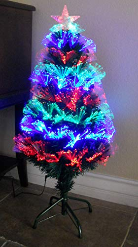 TEKTRUM 36 INCH Artificial Christmas Color Changing Fiber Optic Circular Lights Tree with LED Lighted Star TOP for Christmas/Holiday/Party (Model TD-SYFT16-14C)