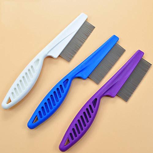 Peigne à dents fines Accessoires pour animaux de compagnie Outil de nettoyage Brosse à poux Suppression des puces Portable Acier inoxydable-Bleu_S
