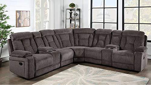 Hollywood Decor Gavar Reclining Sectional Sofa in Grey Fabric