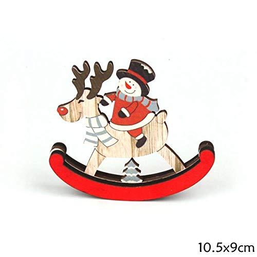 ZHANGJ DIY Artisanat en Bois De Noël Santa/Cerf Décorations en Bois Fête De Noël Maison Table À Manger Décoration Fournitures, G Bonhomme De Neige S