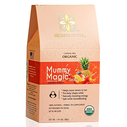 Secrets Of Tea Mummy Magic Weight Loss Tea for Women - Detox Tea with Moringa- USDA Organic - Up to 40 Servings - 20 Counts(1 Pack)