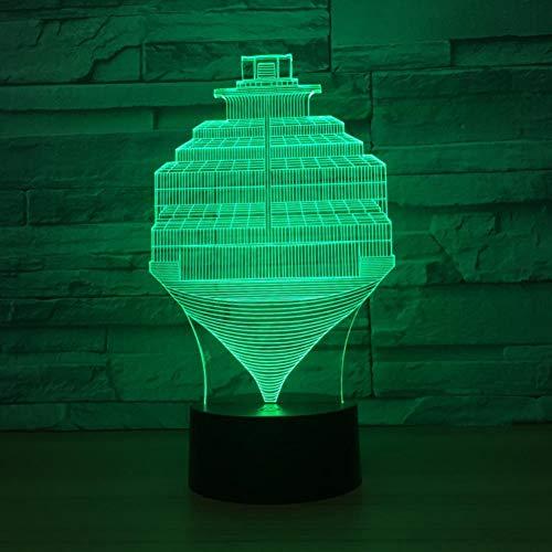 Yujzpl 3D-illusielamp Led-nachtlampje, USB-aangedreven 7 kleuren Knipperende aanraakschakelaar Slaapkamer Decoratie Verlichting voor kinderen Kerstcadeau-Boot in de zee