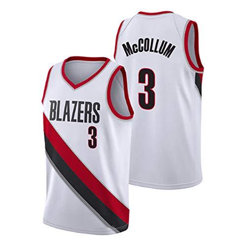 McCollum Blazers #3 Basketball Trikot für Herren, Basketball Trikots Kleidung Tank Top Weste Sport T-Shirt Bestickt Jersey (S-3XL), 123, farbe, 20 City Beige-XL