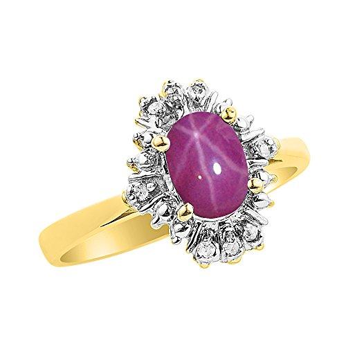 Diamond & Star - Juego de anillos de rubí en oro amarillo de 14 quilates con diamantes