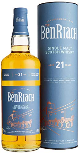 The BenRiach Benriach 21 Years Old Four-Cask Maturation Single Malt Scotch Whisky mit Geschenkverpackung (1 x 0.7 l)
