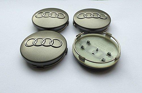 Set von vier Alufelgen Mitte Radkappen grau Bezüge Badge 60 mm 4B0 601 170 passend für Audi A3 A4 A5 A6 A7 A8 S4 S5 S6 S8 RS4 Q3 Q5 Q7 TT A4L A6L S Line Quattro und andere Modelle 4b0601170