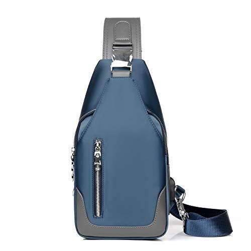 FANDARE Neu Brusttasche Herren Schultertasche Sling Bag Rucksack mit USB Umhängetasche Sporttasche für Wandern,Abenteuer,Sport, Reisen und Joggen Blau C