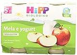 HiPP - Omogeneizzato di Frutta, Gusto Mela e Yogurt, 24 Vasetti da 125 g