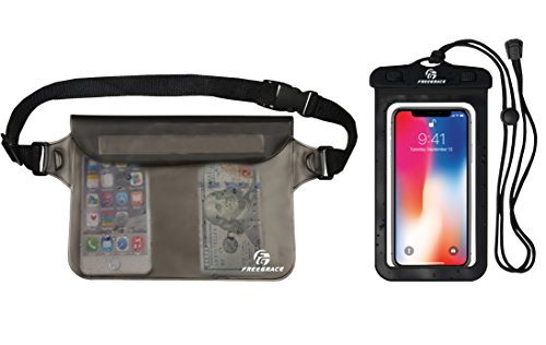 Freegrace Premium Waterproof Pouch Set with Waist/Shoulder Strap - Best Way to Keep Your Phone and Valuables Dry and Safe - Perfect for Boating Swimming Snorkeling Kayaking (Gray + Waterproof Case)