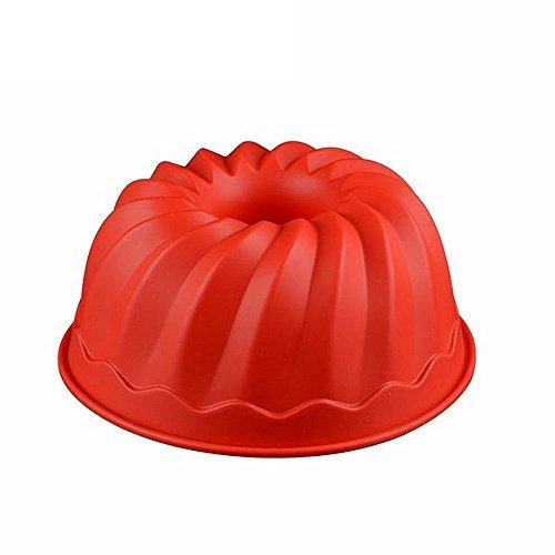 Hanseatic Consumables flexibele Silikon Gugelhupf Backform in Rot | 23x9cm Antihaftbeschichtet | BPA Freies Lebensmittel Silikon | Top Qualität | Sehr formstabil | geschmacks- & geruchsneutral