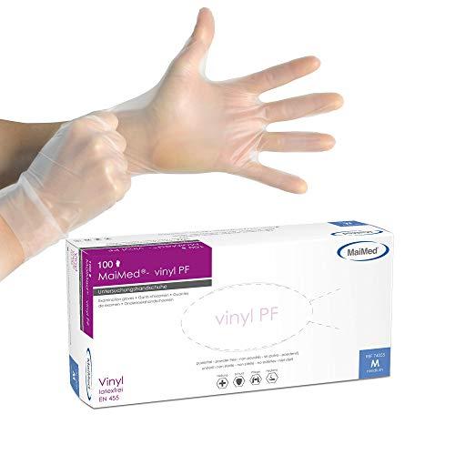 MaiMed Vinyl-Handschuhe Weiß (100 Stück) | Größe M | latexfreie Arbeitshandschuhe extrem dehnbar & reißfest | Nagelstudio Handschuhe ohne Puder | Einweghandschuhe + hygienisch + puderfrei