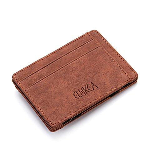 Cartera Pequeña de Cuero para Hombre, Kfnire Magia Monedero Bifold Tarjeteros Tarjetero Billetera con RFID Minimalista (café)