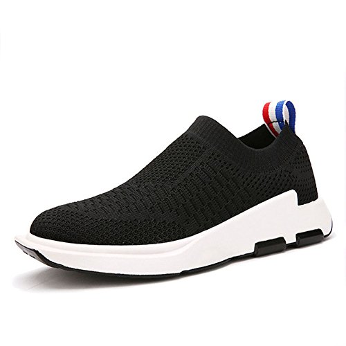 MENTAIQI Kids' Breathable Knit Sneakers Walking Shoes, Boys Ultra-Lightweight Casual Slip-on Loafers Athletic Running Shoes (Toddler/Little Kid/Big Kid) (10 M US Toddler, Black)