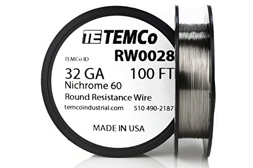 TEMCo Nichrome 60 Series Wire 32 Gauge 100 Ft Resistance AWG ga