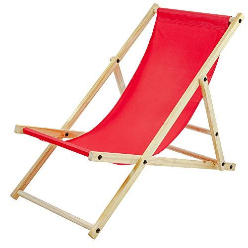 Albatros Gartenliege Sun Rot klappbar Strand-Stuhl Holz Outdoor Terrasse
