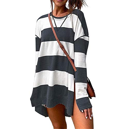 SMTM Damenhemd Band Top Print Split Bluse Langarm Pullover Damen Sweatshirt (L,...