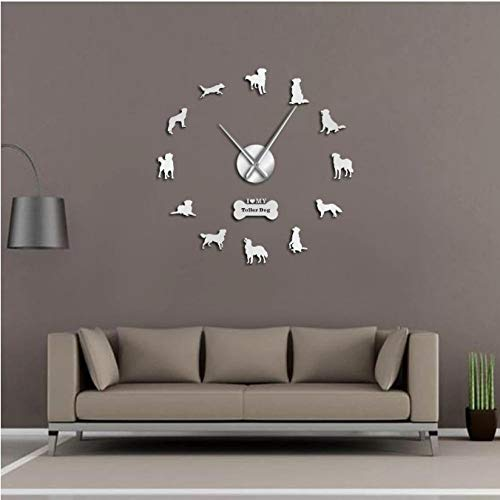 tyjsb Reloj de Pared Gigante de Perro Perdiguero de Pato de Nueva Escocia, Reloj de Pared para Sala de Estar, decoración del hogar, Tienda de Mascotas, Regalo para Amantes de Las mascotas-47inch