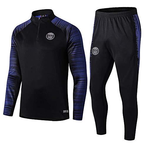 Traje de Entrenamiento de fútbol Traje de Club Camiseta de Manga Larga Uniforme de fútbol Competencia Traje Pantalones Hombres, M, 1