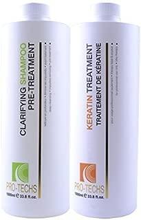 GEMS STYLE Pro-Techs Organic Keratin Treatment Strong, 1L, 33.8 oz Plus Clarifying 1L, 33.8 oz