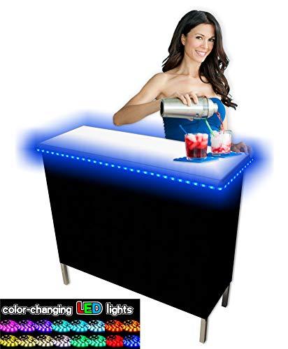 PartyPongTables.com Portable Folding Party Bar w/LED Lights, (Black & Hawaiian Skirts Included), Single Set