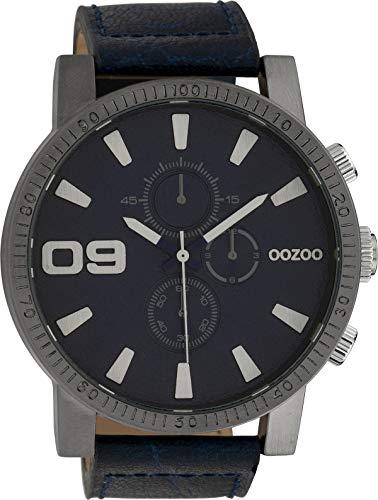 Oozoo Herrenuhr mit Lederband 50 MM Dunkelblau/Dunkelblau C10065