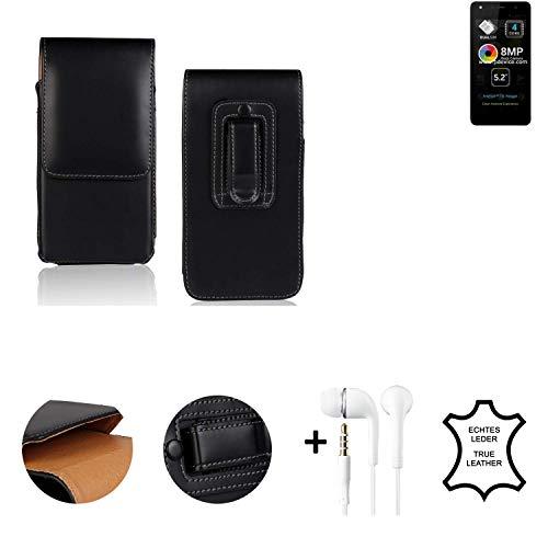 K-S-Trade® Leder Gürtel Tasche + Kopfhörer Für Allview A9 Lite Seitentasche Belt Pouch Holster Handy-Hülle Gürteltasche Schutz-Hülle Etui Schwarz 1x
