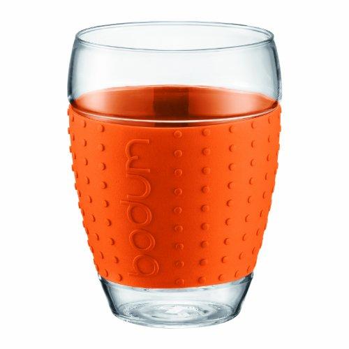 BODUM PAVINA - 2 bicchieri con banda decorativa in silicone, 0,45 L