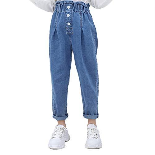 ranrann Enfant Fille Jean Déchiré Denim Pantalon Stretchy Elastique Skinny Pants Legging Jean Élégant Trousers Casual 3-12 Ans Bleu Type B 12-14 Ans