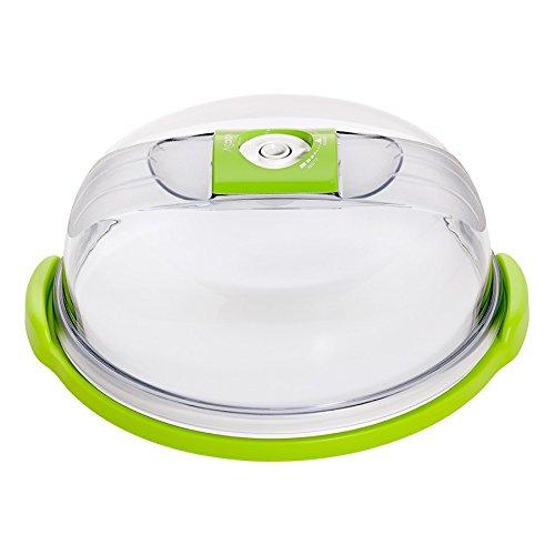 vacSy Vakuum Brotbox Käseglocke Kuchenvitrine Tortenhaube aus Kunststoff - 4,7 Liter Volumen (Rund)