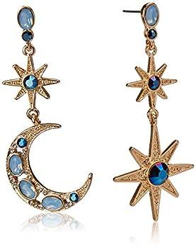 Betsey Johnson Celestial Moon & Star Drop Earrings