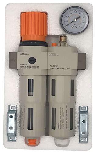 Utah Pneumatic 0.5' Air Drying System Filter Regulator Lubricator - Air Particulate Filter 5 Micron Coalescing Filter Modular Combo 1/2' NPT - Manual Drain, Poly Bowl Rate 3500 L/Min