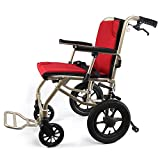 ZHONGXIN Silla de Ruedas Plegable para Transporte, reposapiés abatíbles y cinturón de Seguridad frenos de mano, para discapacitados y personas mayores (red)