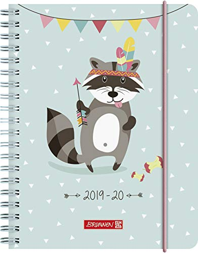 "BRUNNEN 1072965080 ""Racoon"" , Schülerkalender/Wochenkalender 2019/2020 , 2 Seiten = 1 Woche , Blattgröße 12 x 16 cm  , A6, PP-Einband"