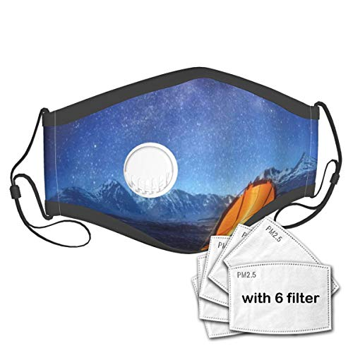 KASABULL Camper A Tent Glows Under Night Sky Full Of Stars Exploring Universe Life Picture Unisex Washable Mouth Sleeve with Filter Anti-Dust Reusable Mouth Guard-Include 6 Filters
