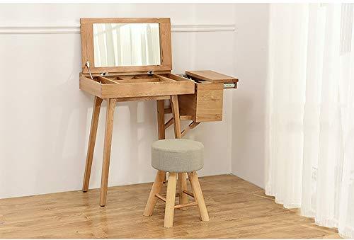 PLLP Change schoen bank, massief hout kruk-kruk hout ronde doek kunst korte Dressing Eettafel kleine bank volwassen tafel 29×29×42Cm A set of 1 Grijs